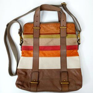 Fossil Color Block Large Leather Crossbody